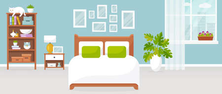 Bedroom interior. Vector illustration. Design of a modern room with double bed, bedside table, shelf unit, window, and decor accessories. Home furnishings. Horizontal flat banner.