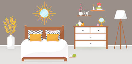 Bedroom interior. Vector illustration. Design of a trendy cozy room with double bed, dresser, mirror, torchere, and decor accessories. Home furnishings. Horizontal flat banner.