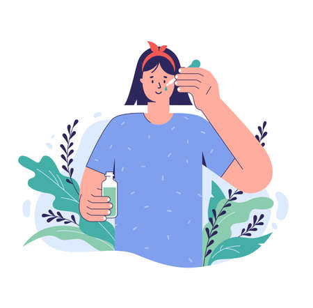 Skin care concept. A young woman applies serum on her face with a pipette. Natural cosmetic beauty product. Facial skincare. Vector illustration in a trendy style.