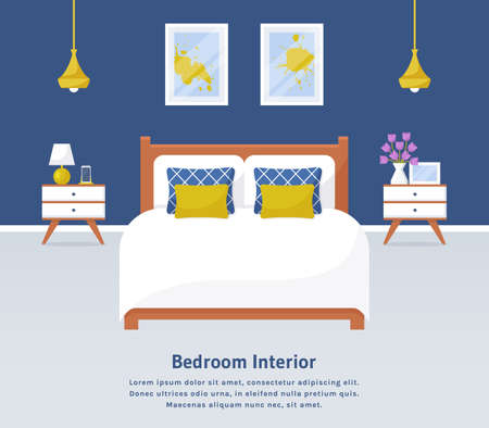 Bedroom interior. Vector web banner with place for text. Modern room design with double bed, bedside tables, and decor accessories. Home furnishings. Flat background with copy space.