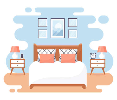 Bedroom interior. Modern banner. Vector. Design of a cozy room with double bed, bedside tables, and decor accessories. Home or hotel furnishings. Flat illustration isolated on white background. Иллюстрация