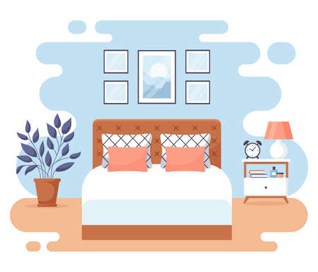 Bedroom interior. Modern banner. Vector. Design of a cozy room with double bed, bedside table, and decor accessories. Home or hotel furnishings. Flat illustration isolated on white background.
