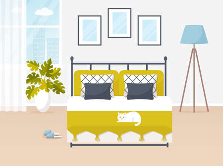 Bedroom interior. Vector banner. Design of a trendy cozy room with double bed, floor lamp, window, white cat, and decor accessories. Home furnishings. Flat illustration.