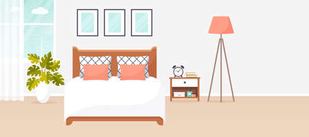 Bedroom interior. Vector banner with copy space. Modern cozy room design with double bed, bedside table, floor lamp, and decor accessories. Home furnishings. Flat background with copyspace.