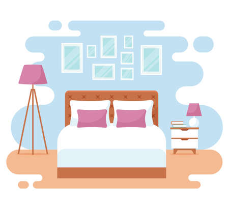 Bedroom interior. Modern banner. Vector design. Cozy room with double bed, bedside table, floor lamp, and decor accessories. Home or hotel furnishing. Flat illustration isolated on white background.