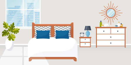 Bedroom interior. Vector illustration. Design of a trendy cozy room with double bed, bedside table, dresser and decor accessories. Home furnishings. Horizontal flat banner.