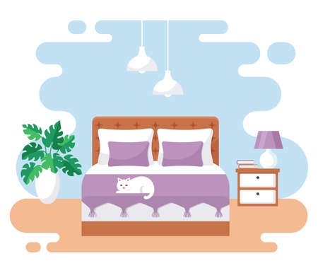 Bedroom interior. Modern banner. Vector. Design of a cozy room with double bed, bedside tables, and decor accessories. Home furnishings. Flat illustration isolated on white background.