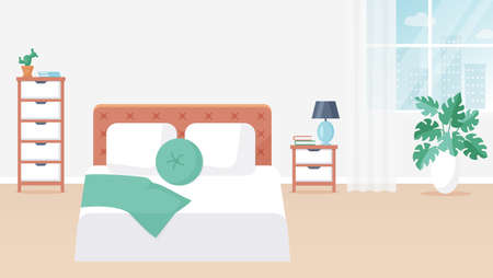 Bedroom interior. Vector illustration. Design of a modern room with double bed, bedside table, drawer unit, window, and decor accessories. Home furnishings. Horizontal flat banner. Stock Vector - 155200753
