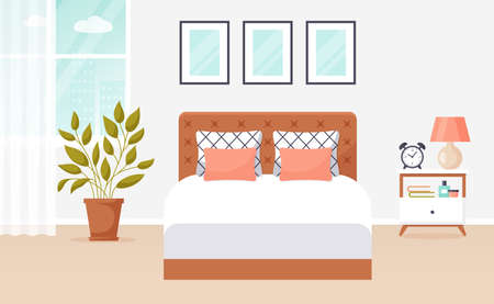 Bedroom interior. Vector banner. Modern cozy room design with double bed, bedside table, window, and decor accessories. Home furnishings. Flat background.