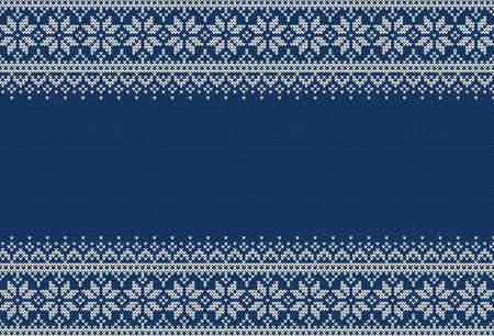 Knitted sweater background with copyspace. Blue and white horizontal banner for Christmas or winter design. Traditional scandinavian patterns. Abstract borders and place for text. Vector illustration.