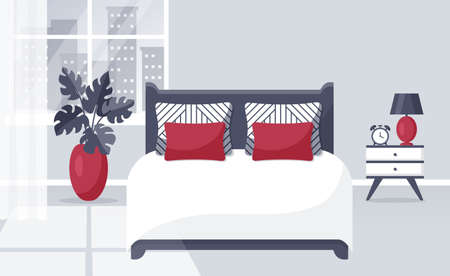 Bedroom interior. Vector illustration. Design of a trendy cozy room with double bed, bedside table, window and decor accessories. Home furnishings. Flat banner in white, gray and red colors.
