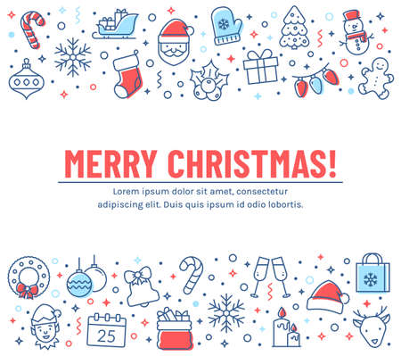 Merry Christmas greeting card. Banner with colored outline icons. Vector background with holiday line symbols and copy space for your text. Concept of winter holiday season.