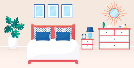 Bedroom interior. Vector illustration. Design of a trendy room with double bed, bedside table, dresser and decor accessories. Home furnishings. Horizontal flat banner.