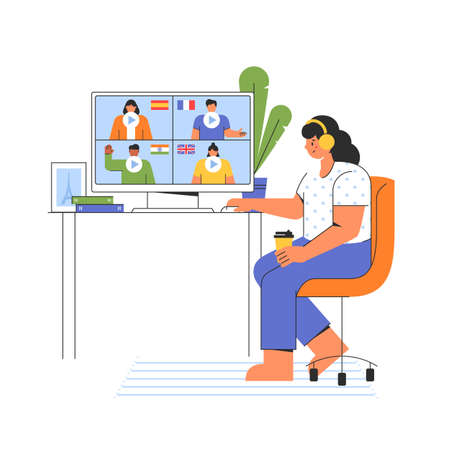 Distance online education concept. Girl chooses a course to study a foreign language on the website. E-learning at home. Vector illustration isolated on white background. Иллюстрация