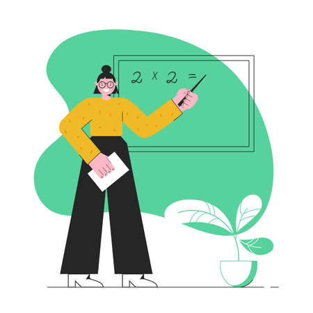 School teacher. A young teacher stands at the blackboard. Mathematic lesson. Vector illustration in modern flat style isolated on white background.