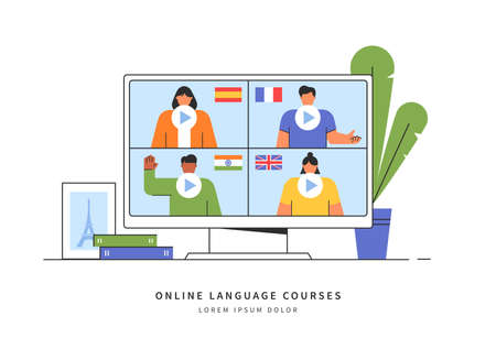 E-learning of the foreign languages. Distance online education concept. Teachers from different countries give lessons on the website. Modern vector illustration isolated on white background.