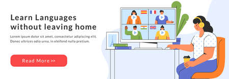Distance online education web banner. Girl chooses a course to study a foreign language on the website. E-learning at home. Vector template