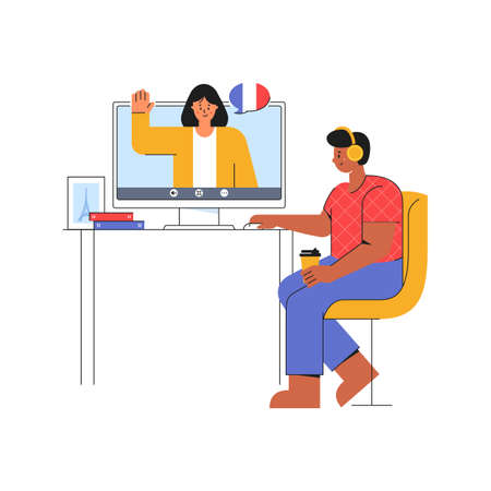 E-learning at home. Young man listens to the teacher of French language. Online course on the website. Distance education concept. Modern vector illustration isolated on a white background.