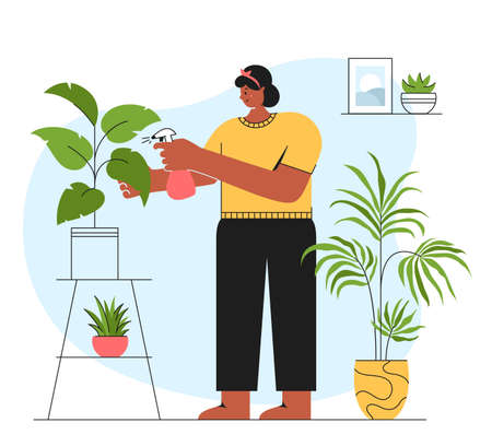 Houseplant care concepts. Young woman cultivate of indoor plants. Vector illustration in trendy style isolated on white background.