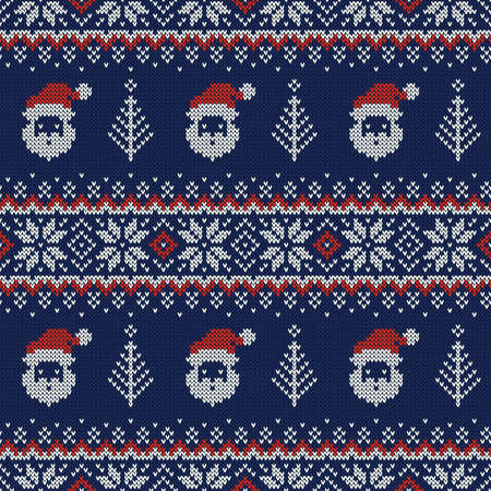 Knitted seamless pattern with Santa Clauses, Christmas trees and scandinavian ornaments. Vector background. Blue, red and white sweater print.