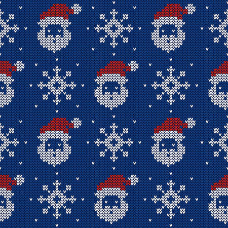 Knitted seamless pattern with Santa Clauses and snowflakes. Vector background. Blue, red and white sweater ornament.