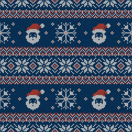 Knitted seamless pattern with Santa Clauses, snowflakes and scandinavian ornaments. Vector background. Blue, red and white sweater print.