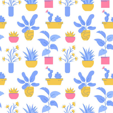 Houseplant seamless pattern. Vector background with different potted plants.