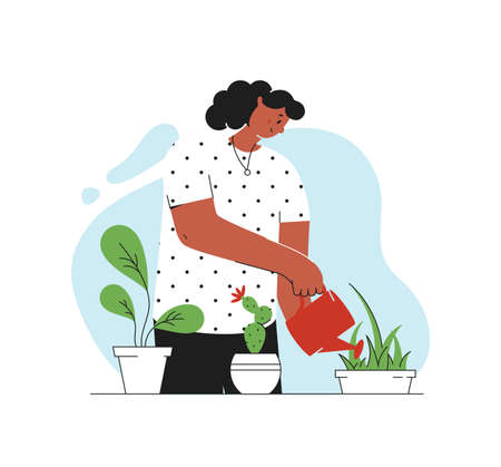 Houseplant care concept. Young woman cultivate of indoor plants. Vector illustration in trendy style isolated on white background.