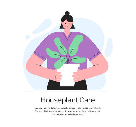 Young woman holding a plant in a pot. Houseplant care concept. Vector banner with place for text. Illustration in trendy style isolated on white background. Иллюстрация