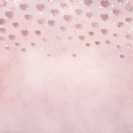 Romantic background for wedding or Valentines day design. Beautiful pink wallpaper with hearts and shiny bokeh.