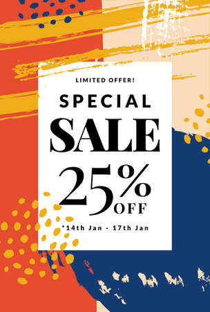 Sale banner with abstract hand drawn background. Vector discount template.