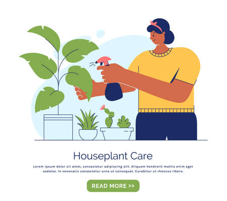 Houseplant care concept. Young woman cultivate of indoor plants. Banner template with place for text. Vector illustration in trendy style isolated on white background.