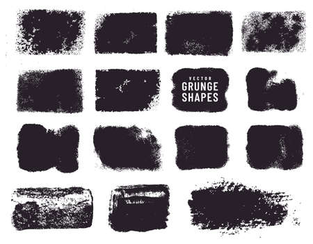 Grunge shapes and ink stains isolated on white background. Black vector design elements for frame, clipping masks, background, banner or text box. Freehand drawing collection. Vettoriali