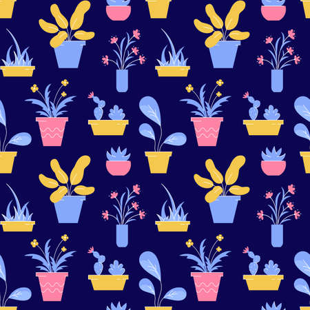 Houseplant seamless pattern. Vector background with different potted plants and flowers.