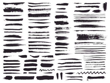 Paint brush strokes and grunge stains isolated on white background. Vector design elements for paintbrush texture, background, banner or text box. Freehand drawing collection.