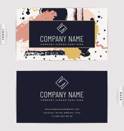 Business card design. Vector template with creative hand drawn background.