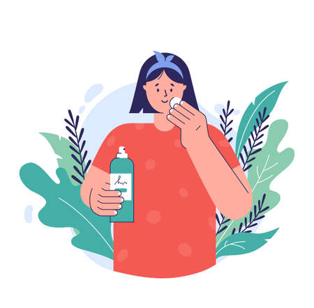 Skin care concept. A young woman applying tonic to cotton disc on her face. Natural cosmetic beauty product. Facial skincare. Vector illustration in a trendy flat style.
