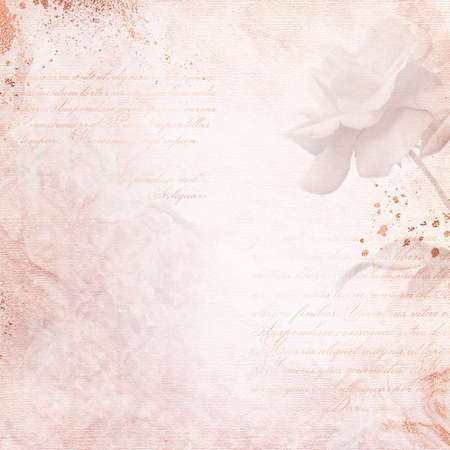 Old paper background with calligraphic text and rose. Romantic vintage letter - card with copy space. Abstract digital wallpaper with flower and glittering splashes.