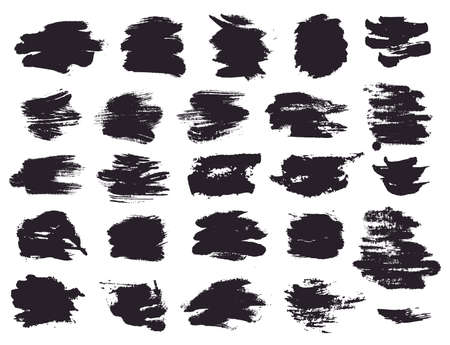 Paint brush strokes and abstract grunge stains isolated on white background. Black vector design elements for paintbrush texture, clipping mask, banner or text box. Freehand drawing collection.