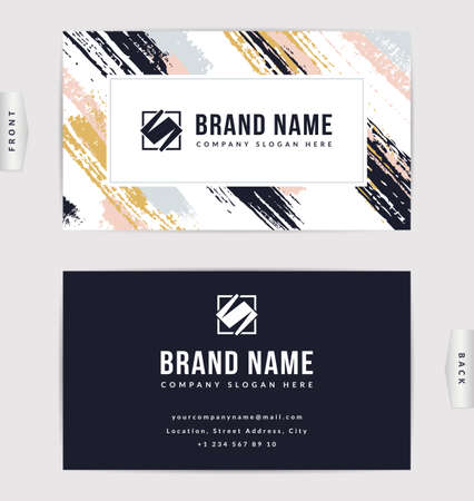 Business card design. Vector template with paint brush strokes.