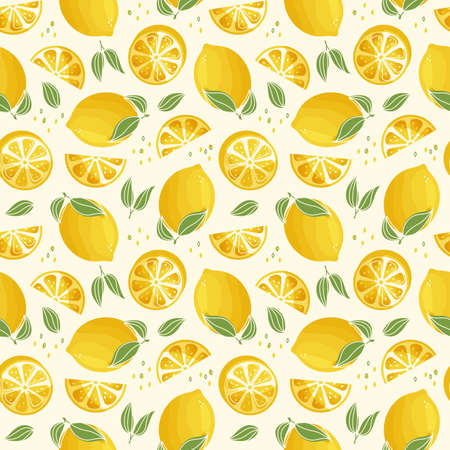Seamless pattern with lemons. Modern background with juicy citrus fruit and leaves. Vector illustration.