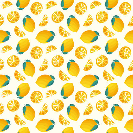 Seamless pattern with lemons. Vector background with juicy citrus fruit and leaves.
