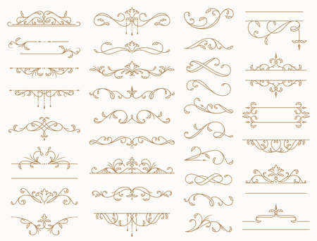 Vintage border ornaments. Set of isolated decorative lines, dividers, swirls, and frames for text. Flourish vector design elements for wedding invitation, restaurant menu, certificate, page decoration