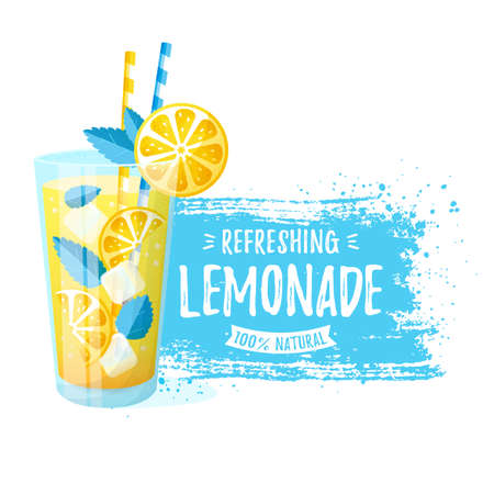 Lemonade - vector illustration. Modern banner with glass of refreshing drink and paint brush stroke isolated on a white background.