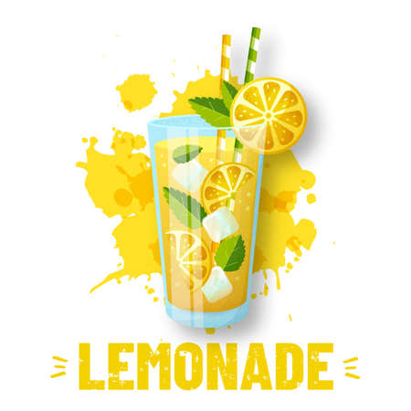 Lemonade - vector illustration. Modern banner with glass and juice splashes isolated on white background. Fresh and sweet summer drink with lemon slices, ice and mint. Иллюстрация