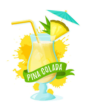 Pina colada with pineapple slice, straw and umbrella. Modern banner with glass of alcoholic drink, ribbon and juice splashes. Vector illustration isolated on white background.