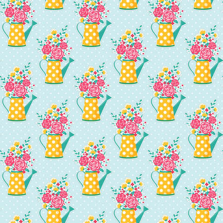 Cute seamless pattern with watering can and flowers. Polka dot background. Vector illustration.