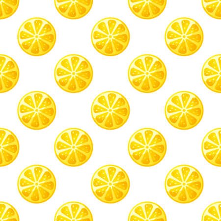 Seamless pattern with lemon slices. Vector background with citrus fruit.