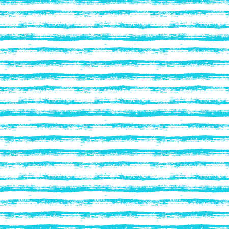 Abstract seamless pattern with paint brush lines. Blue and white striped background with hand drawn stripes. Vector texture.
