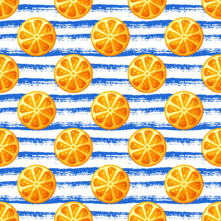 Seamless pattern with orange slices. Striped vector background with citrus fruit. Иллюстрация